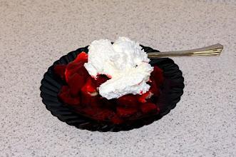 Photo: Strawberry shortcake on small black plate