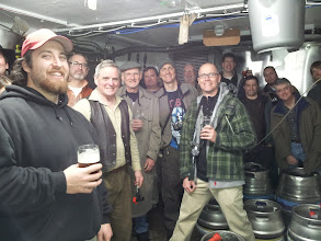 Photo: David Aynesworth (with vest) gave the group a tour of the extraordinary cask ale cellar of his Craven Arms pub in the Yorkshire Dales.
