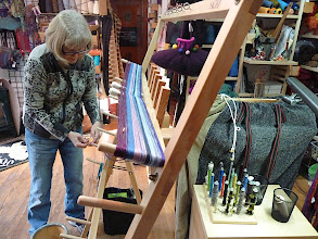 Photo: student learning to wind a warp on the saori warping board  www.etsty.com/shop/saorisantacruz