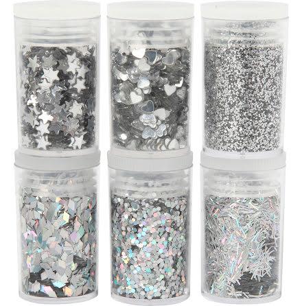 Glitter mix silver 6x5g