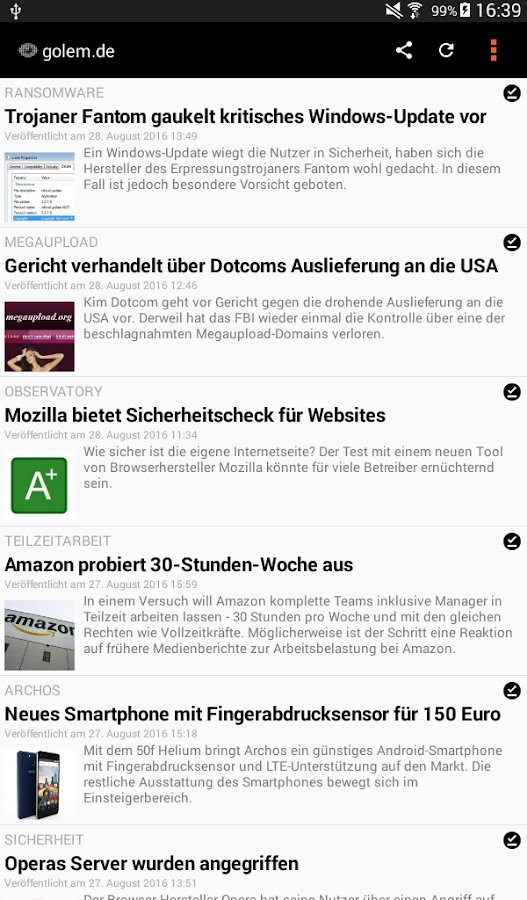 unofficial golem.de Reader- screenshot