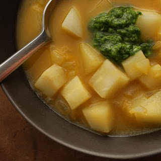 Winter Vegetable Soup with Watercress Pistou
