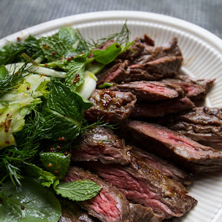 Grilled Skirt Steak with Herb Salad.