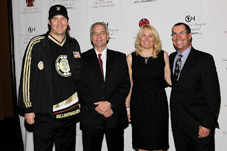 "Photo: Poker Legend Phil Helmuth, Director of the Children's Cancer Center at CHOP-Dr. John Maris and Kristen and Rich Gillette as Honorary Chairs of the ""All In"" For Kid's Poker Tournament at the Mandarin Oriental in NYC on October 20, 2011"