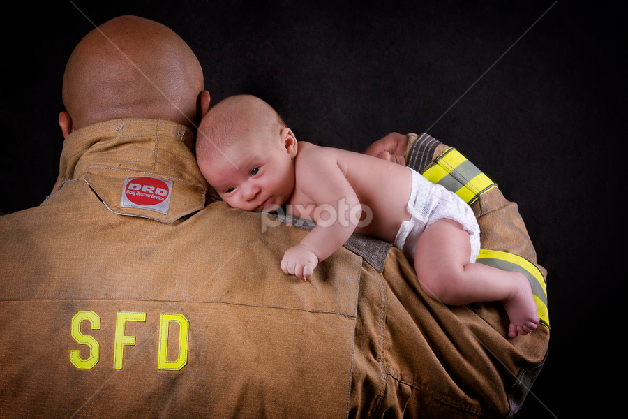 Fireman Pride by Joseph Humphries - People Family ( child, love, dad with kids, uniform, fireman, proud, newborn, dad and 'kid', father )