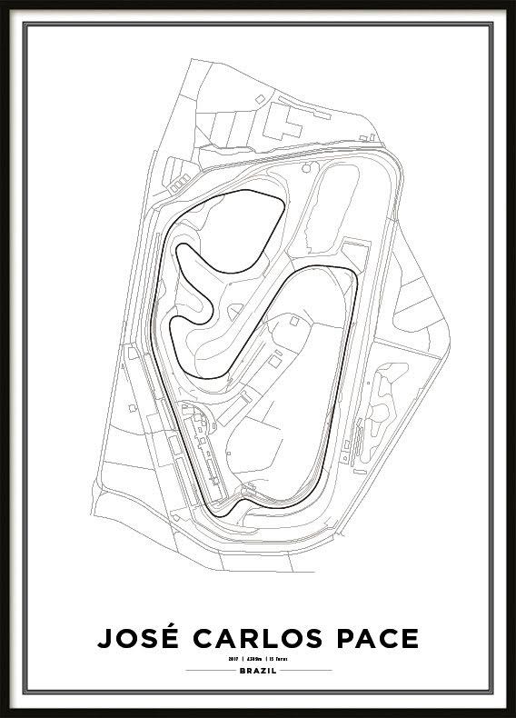 Poster, Autódromo José Carlos Pace Formula 1 Print White