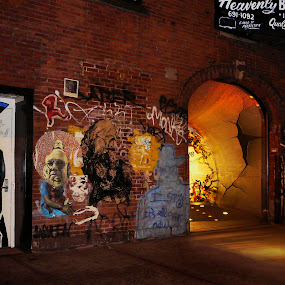 NY by Rouslan Podroutchniak - Buildings & Architecture Other Exteriors ( pwcopendoors-dq, brick, street at night, brick wall grafity, wall )