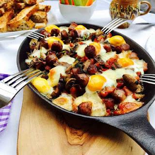 Quail Eggs, Mushrooms And Bacon Breakfast