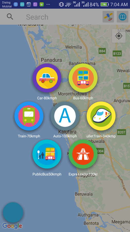 select your travelling method for this Location Alarm Android App