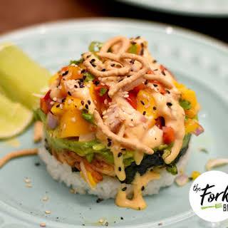 Shrimp Stacked Sushi Recipe With Mango Salsa.
