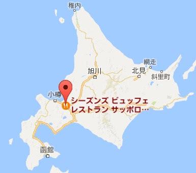 地図:シーズンズ ビュッフェ レストラン サッポロファクトリー店(札幌市)