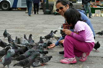 Photo: Feeding pigeons outside the Catacombs