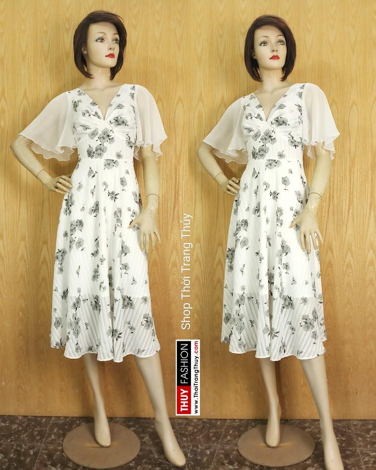 Váy Xòe dáng dài cổ V xếp nhún tay loe V675 tại Hà Nội