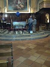 Photo: Choir member Harry Meyers with local lady in St. Trophyme Church, Bormes