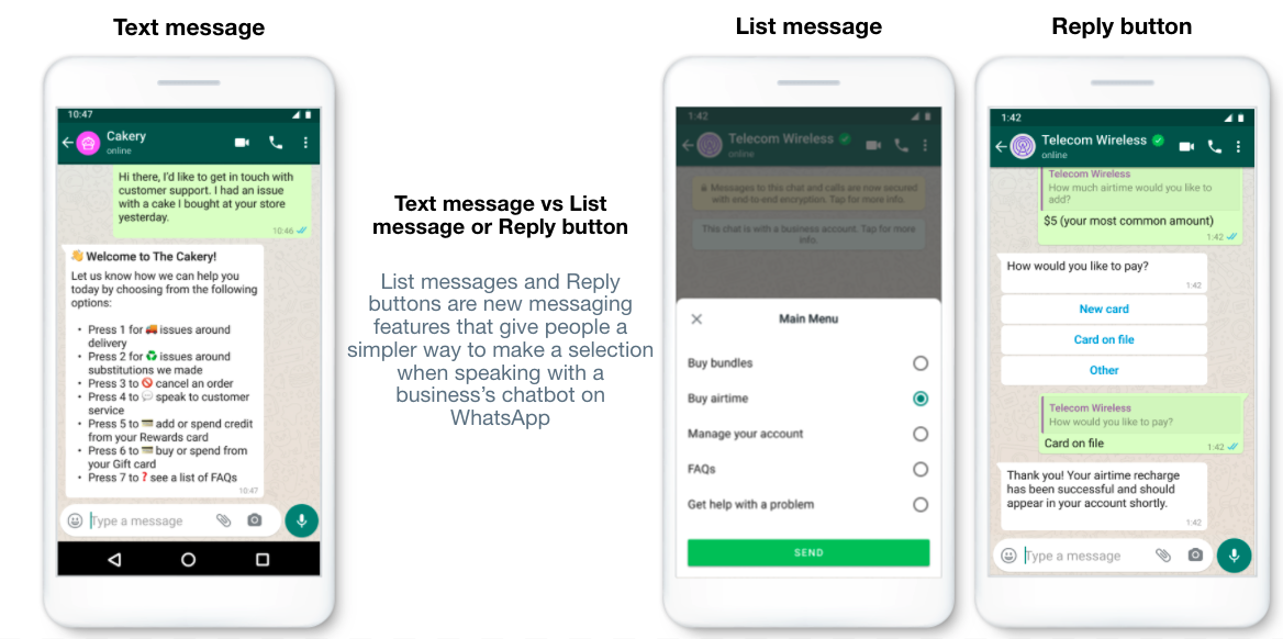 whatsapp interactive messages list and reply buttons