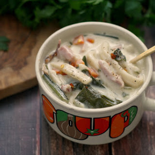 Creamy Ham and Greens Noodle Soup Recipe