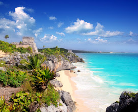Photo: ancient Mayan ruins temple of Tulum in Caribbean turquoise sea shore