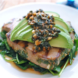 Grilled Citrus Tuna Steak with Avocado and Spinach Recipe