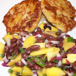 Brown Rice Plantain Pancakes With Black Bean Mango Salsa.