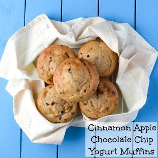 Cinnamon Apple Chocolate Chip Yogurt Muffins.