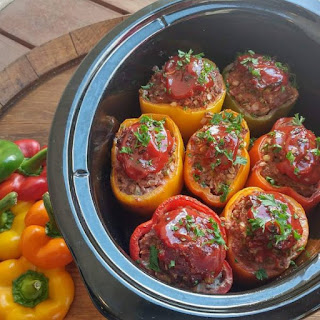 Crockpot Meatloaf Stuffed Peppers