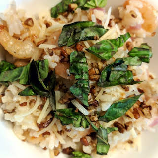 Oven Baked Shrimp Risotto with Pecans and Basil.