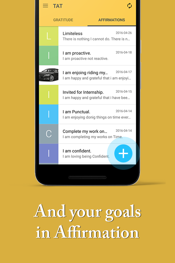 Gratitude Journal w/ Affirmation Reminder TAT App- screenshot