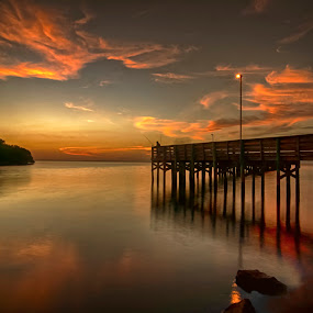 The Pier by Mark Turnau - Landscapes Sunsets & Sunrises (  )