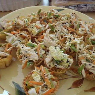 Thai Chicken Salad in Crispy Wonton Cups.