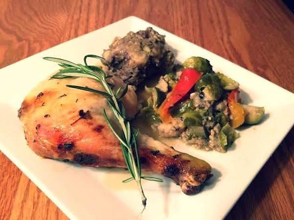 Herb Roasted Chicken, Mushroom Stuffing & Veggies Recipe