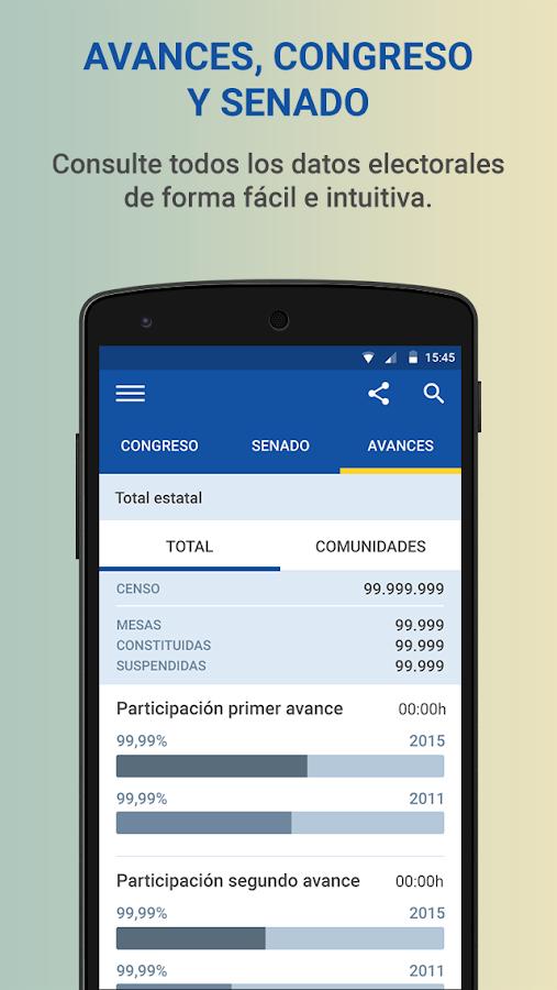 Elecciones generales 2015 aplicaciones de android en for Resultados electorales mir