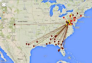 Photo: K8GP/R - FM09te 50-432 MHz QSO map - ARRL June VHF 2014 - Brn=50 Red=144 Org=222 Yel=432