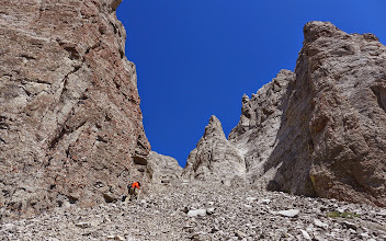 Photo: 2014 - Tim starting up the couloir.