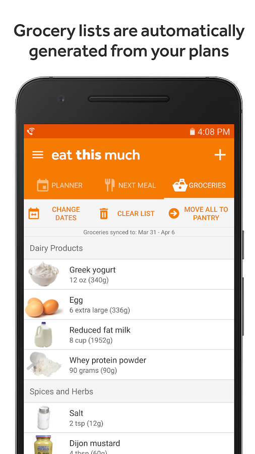 Eat this much meal planner android apps on google play for Plan app