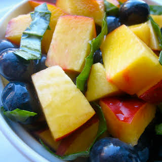 Nectarine Blueberry Basil Fruit Salad.