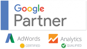 Graphic of google logos showing certifications for Google Partner, Adwords, and Google Analytics