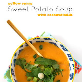 Yellow Curry Sweet Potato Soup with Coconut Milk