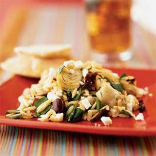 Mediterranean Orzo Salad with Feta Vinaigrette.