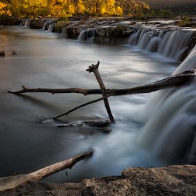Sandstone Falls by Robert Fawcett - Landscapes Waterscapes ( autumn, sandstone falls, fall, waterfall, long exposure, places, travel, landscape )