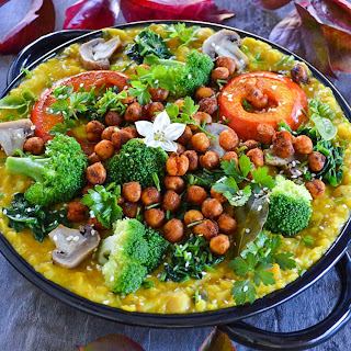 Red Lentil, Squash And Sweet Potato Stew With Vegetables.