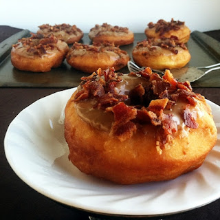 Maple Glazed Yeast Donuts topped with Bacon
