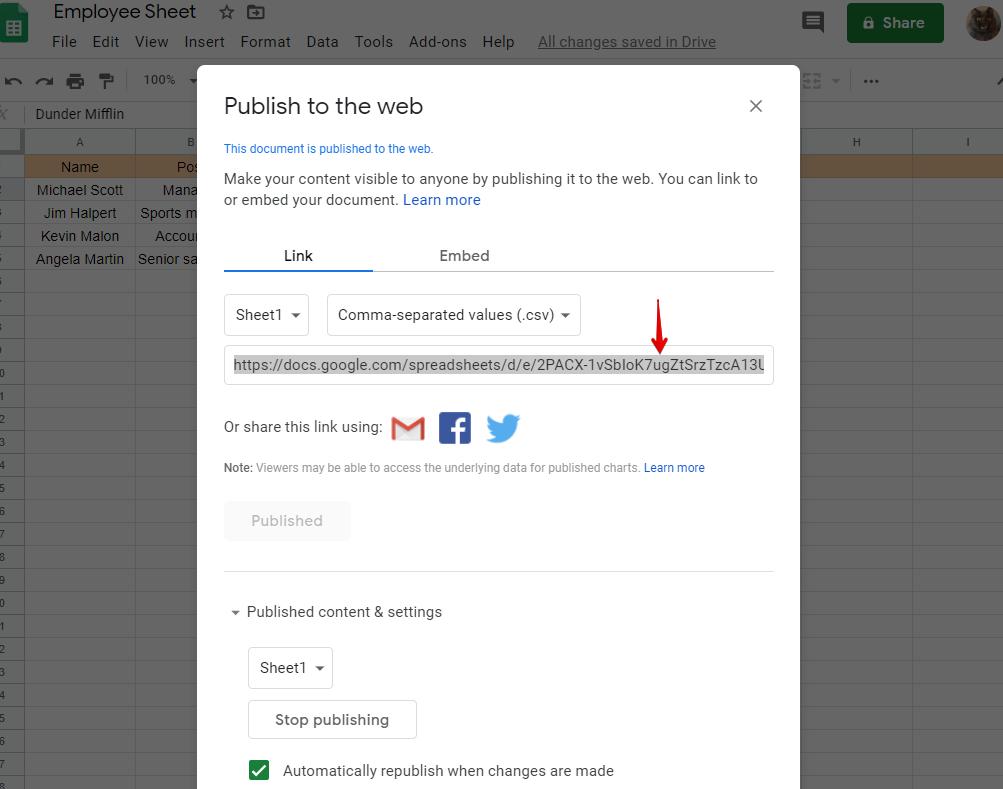 integrate Google Sheets data table