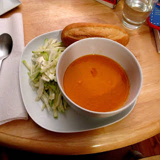 Spicy Tomato and Blue Cheese Soup.