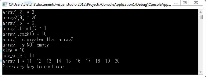 Array - Thư viện STL C++