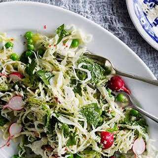 Cabbage, Pea, Mint, Chilli And Parmesan Salad.
