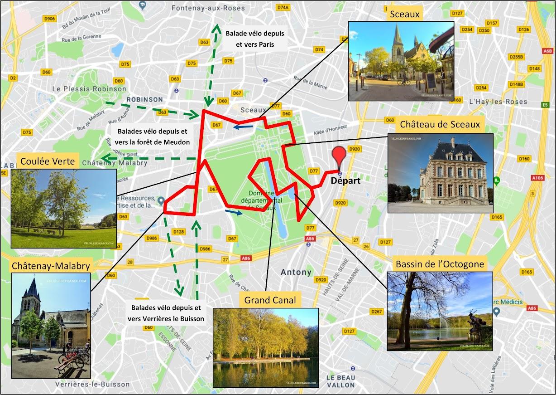 Tracé Circuit à vélo au Parc de Sceaux et ses villages par veloiledefrance.com