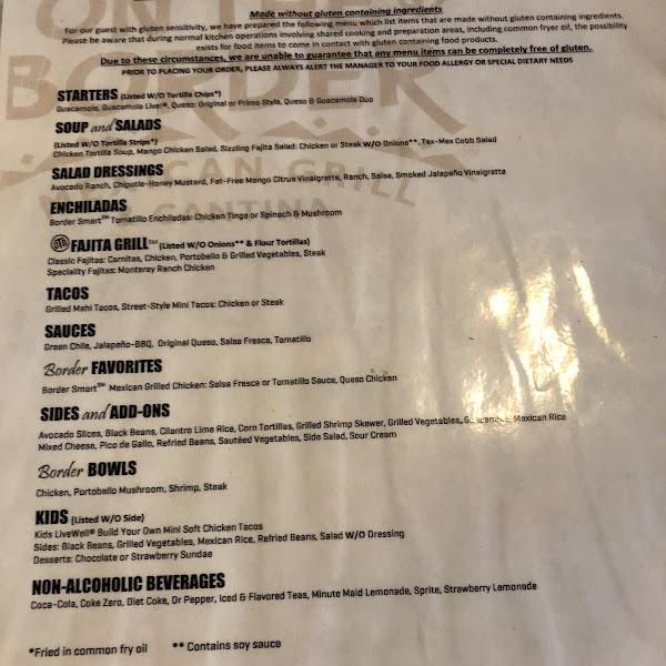 Gluten 'friendly' menu