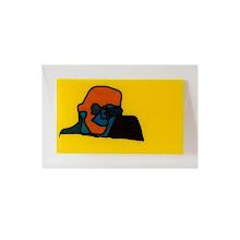 Photo: Tête sur fond jaune sérigraphie et peinture sur verre, 27 x 42 cm, 2009, 8 exemplaires uniques numérotés et signés. © Nadja Cohen