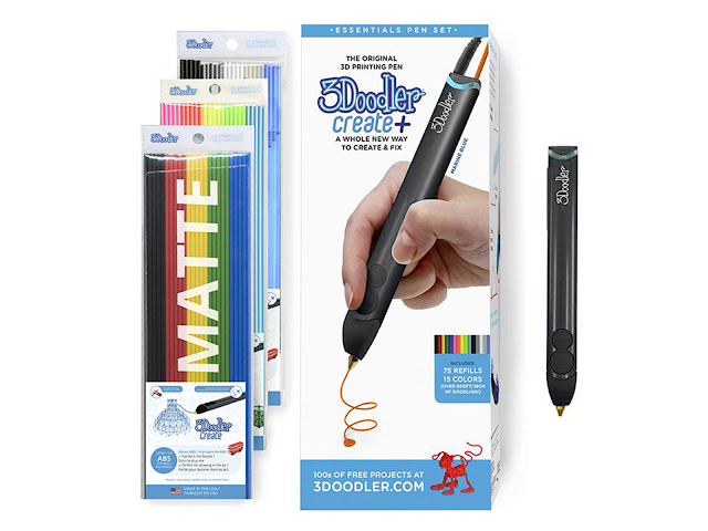 3Doodler Create+ Essentials 3D Printing Pen Set - Onyx Black