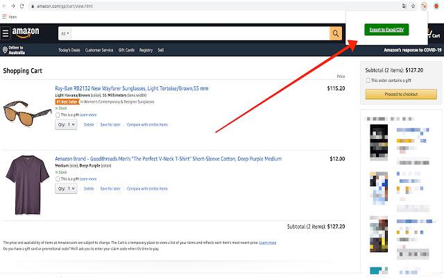 Amazon cart exporter